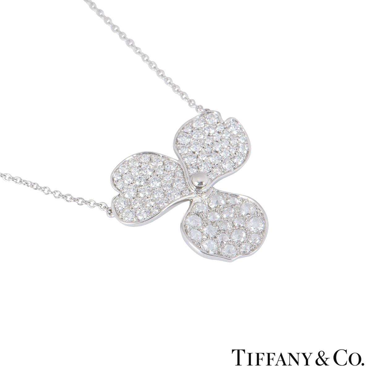 Tiffany & Co. Platinum Diamond Paper Flowers Pendant